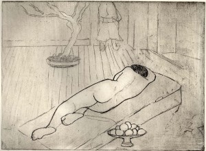 Nude with bowl of fruit