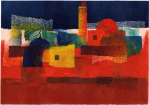 Arab village - red and blue